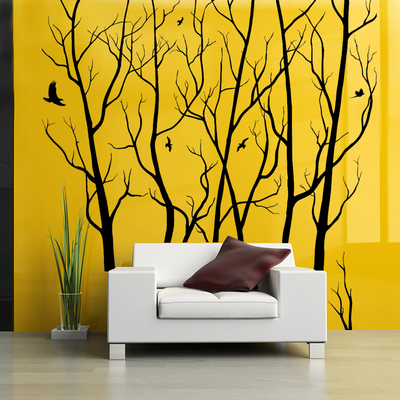 D446 Large Wall Art Decor Vinyl Tree Forest Decal Sticker (choose size and color) tree wall sticker mural Art wall decoration-in Wall Stickers from ...