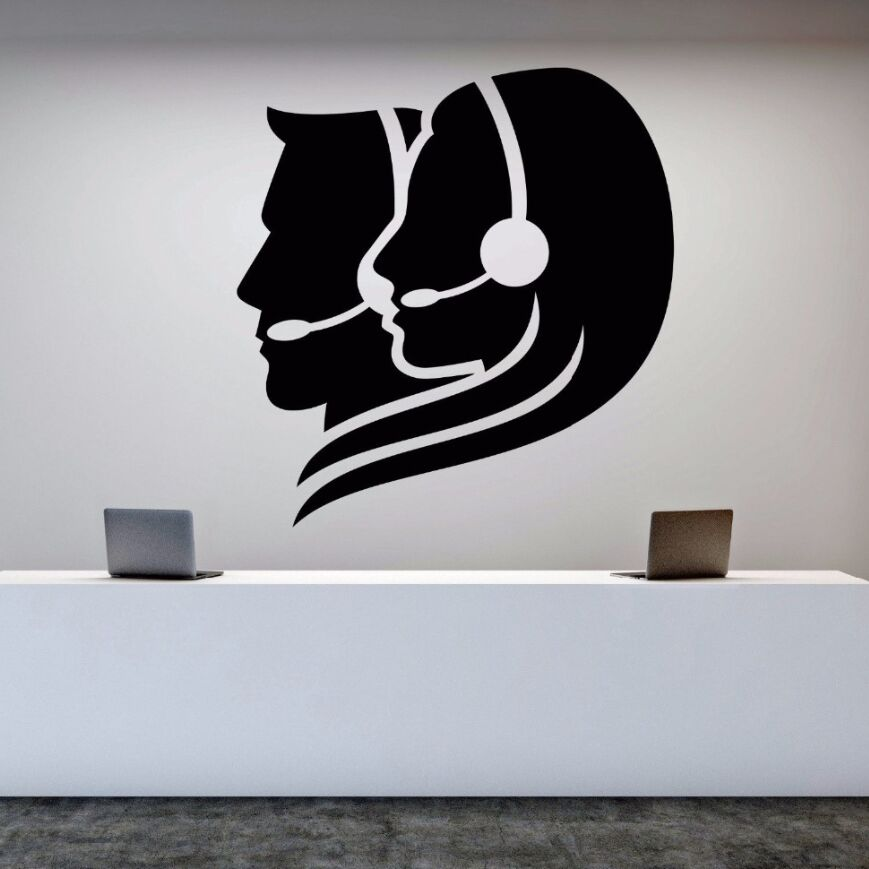 US $9.68 |Wall Decal Vinyl Removable Call Center Operator Wall Sticker  Office Worker Stickers Room Decoration Art Mural Office Decor AY574-in Wall  ...