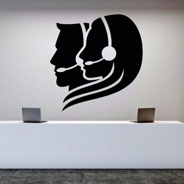 wall decal vinyl removable call center operator wall sticker office