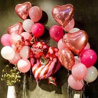 1 مجموعة كبيرة الوردي القلب احباط بالونات الزفاف خلفية صور بوث عيد globos الديكور للمنزل الديكور anniversaire