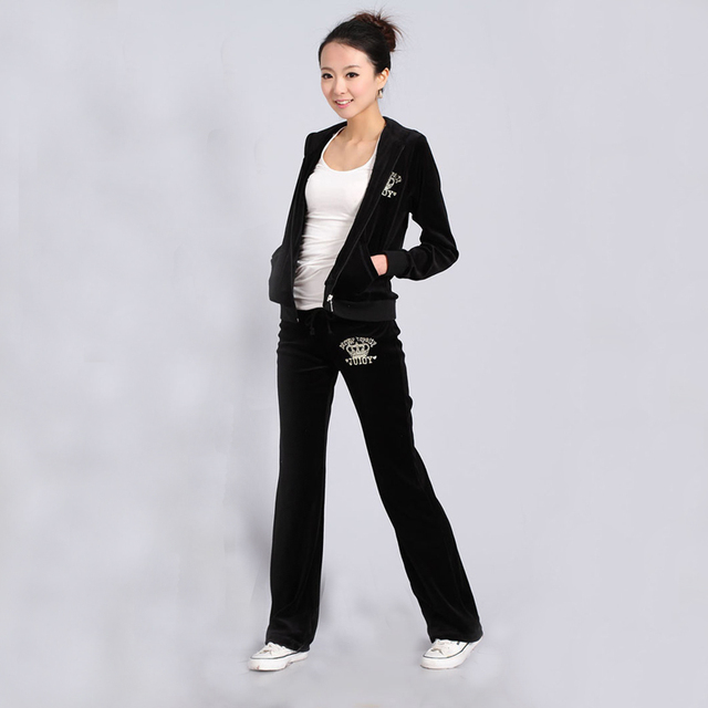Spring   Fall 2018 Women S Brand Velvet Fabric Tracksuits Velour Suit Women  Track Suit Hoodies And 7be6903e7