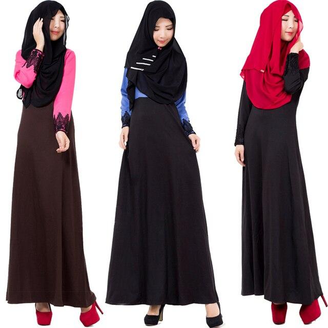 Мода 2016 Горячая Мусульманин Платье Абая Халат Кружева Slim Черный Длинные Платья Малайзия Abayas В Дубае Мусульманской Женской Одежды Платье