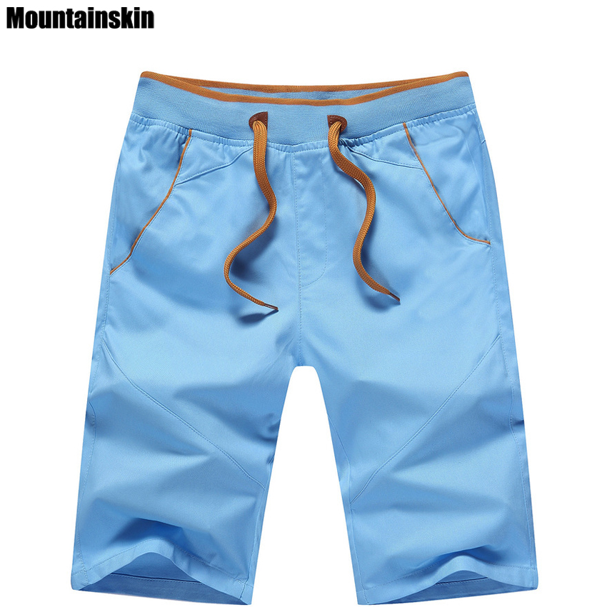 Mountainskin 5XL New Summer Men's Cotton Shorts Mid Straight Thin Men's Beach Shorts Casual Solid Soft Male Brand Shorts,SA168