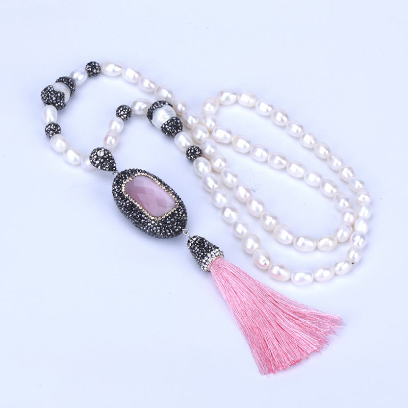 New Boho pink faceted glass big connector bead charm silk tassel White freshwater Pearl Beaded chain pendant Necklace For Women faux pearl beaded pendant sweater chain
