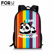 FORUDESIGNS Cute Panda Unicorn School Backpack Teenager Girls Boys Colorfull Stripe BookBag Student 16 inch Satchel Daypack 2019