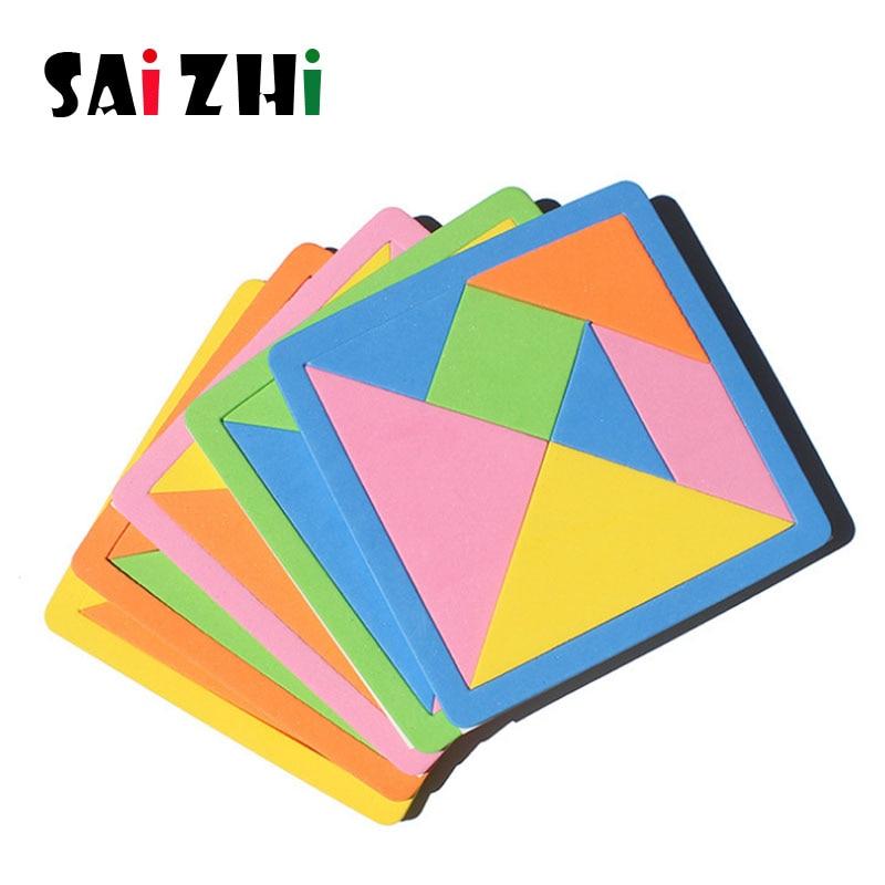 Saizhi quebra-cabeça de eva 3d para crianças, brinquedo educativo, quebra-cabeça tangram tetris em formato de geométrico sz3028