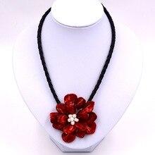 Модные ювелирные изделия белый жемчуг и красная раковина Красная роза цветок ожерелье с плетеной кожей