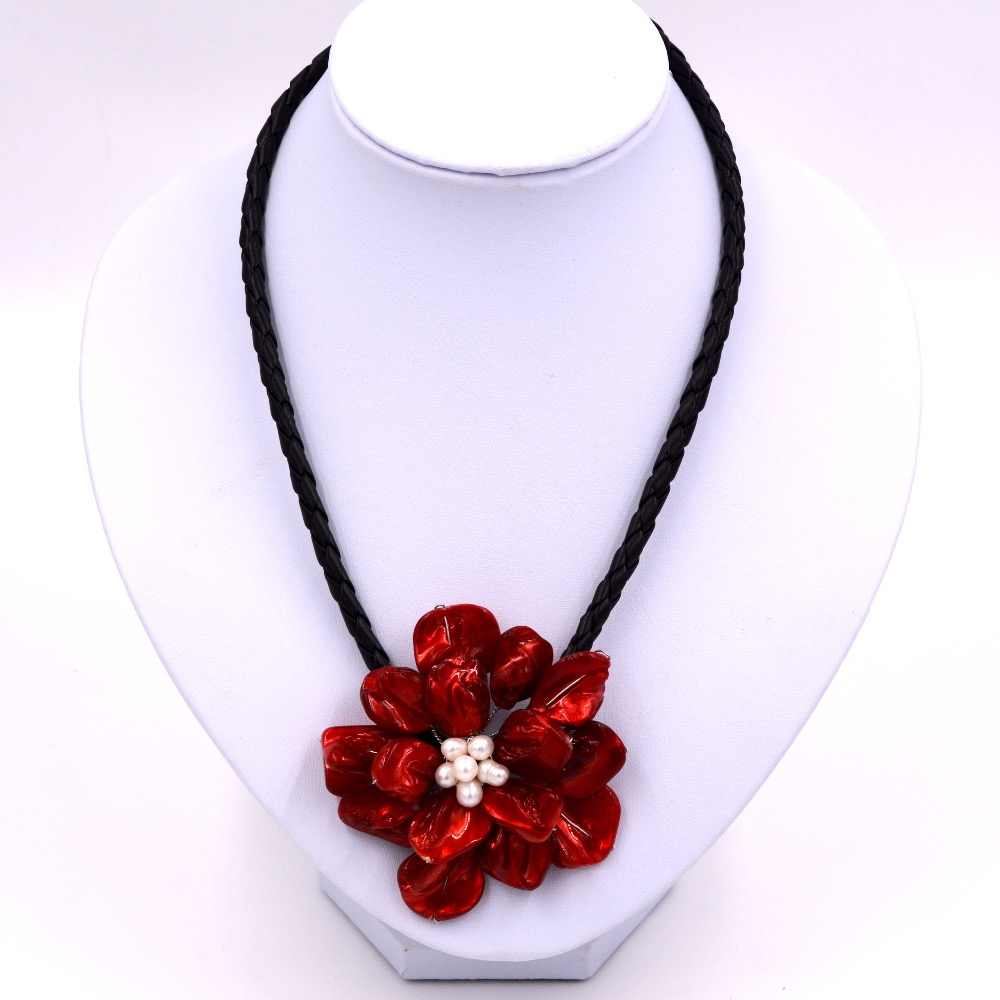 Trendy jewelry white pearl and red shell red rose flower necklace with woven leather