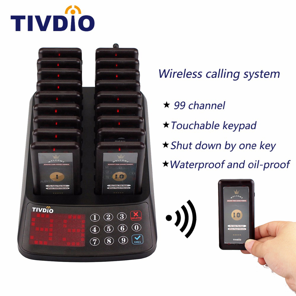 TIVDIO T-115 99 Channel Restaurant Pager Wireless Guest Paging Queuing System 18 Coaster Pager Receiver+1 Keypad Transmitter wireless restaurant calling system 5pcs of waiter wrist watch pager w 20pcs of table buzzer for service