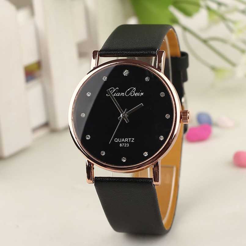 Excellent Quality New Brand Quartz Watches Fashion Style Womens Diamond Case Leather Band Round Dial Quartz Wrist Watches