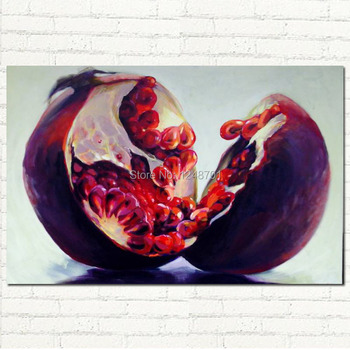Handpainted modern red pomegranate picture still life oil painting on canvas for chicken wall decoration