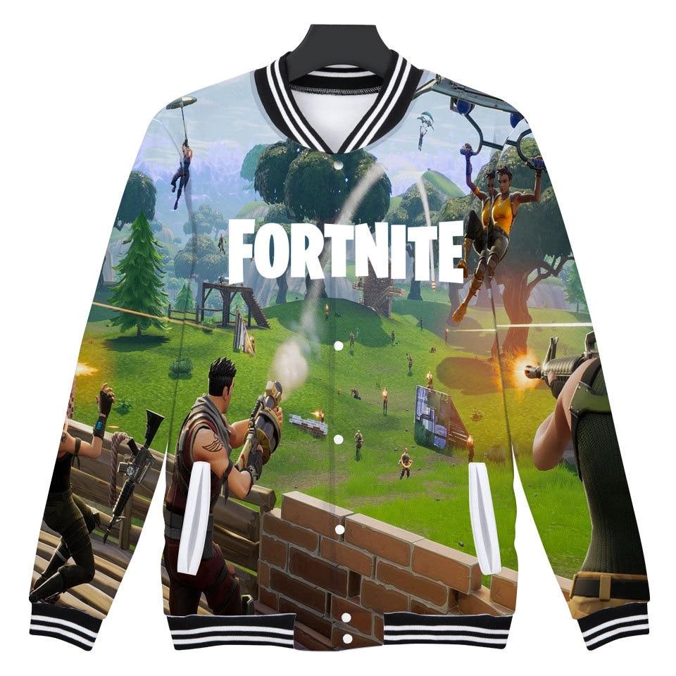 Fortnite Baseball Jacket Hoodies Sweatshirt Tops Pullovers Men Pop Funny FPS Games Hoodies Mens Sweatshirts Jacket Clother XXS