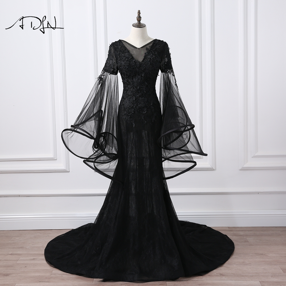 ADLN V-neck Flare Sleeve Mermaid   Evening     Dresses   Long Black Prom Gown Long Party   Dress