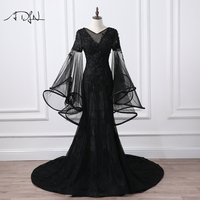 ADLN V neck Flare Sleeve Mermaid Evening Dresses Long Black Prom Gown Long Party Dress