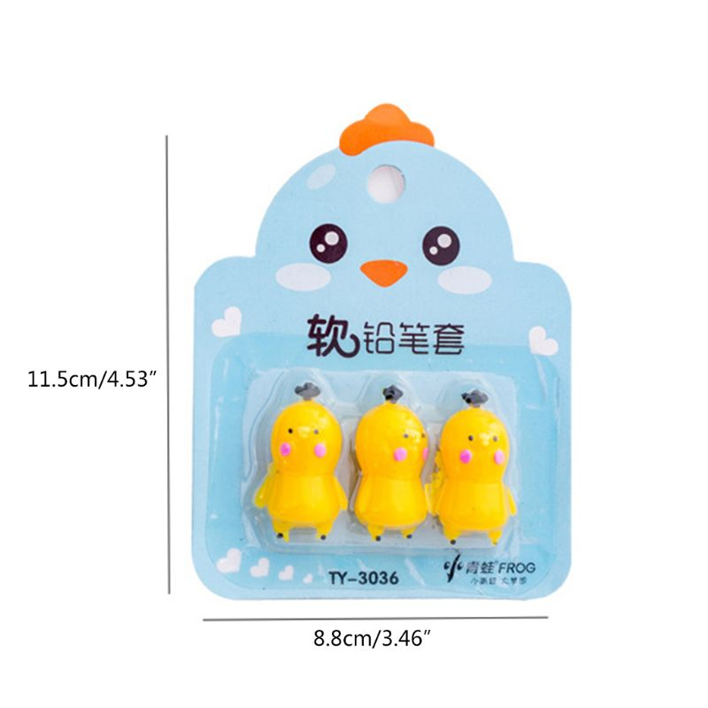 3pcs pack Creative Carrot Chick Pen Pencil Cap Sleeve Cover Extender Protector Office School Supplies Stationery in Pencil Bags from Office School Supplies