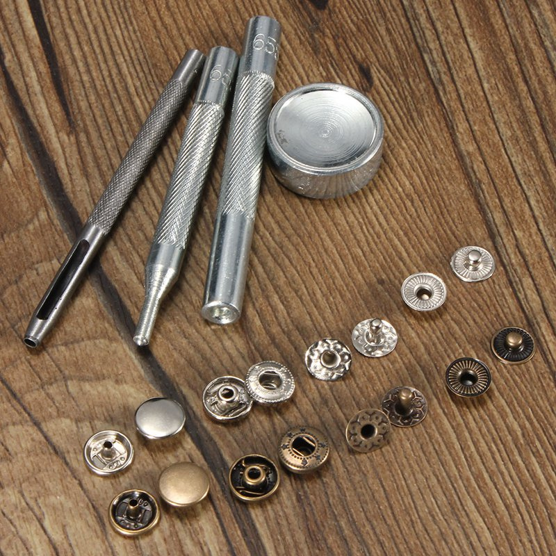 30 Sets Metal Press Studs Snap Fasteners Leather Buttons Rapid Rivet Buttons DIY