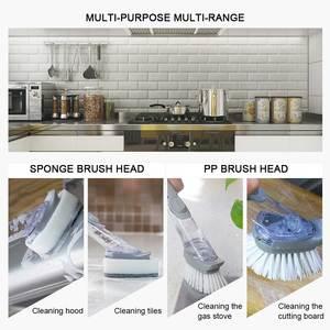 Image 5 - Long Handle Pot Brush Dish Bowl Washing Cleaning Brush Soap Dispenser Kitchen Sink Scrubber Automatic Sponge Dishwasher Brush