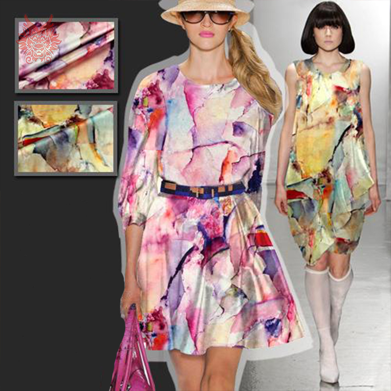 American style abstract inkjet print spandex silk fabric for dress stretch silk fabric for sewing cloth 19mm Free ship SP2911