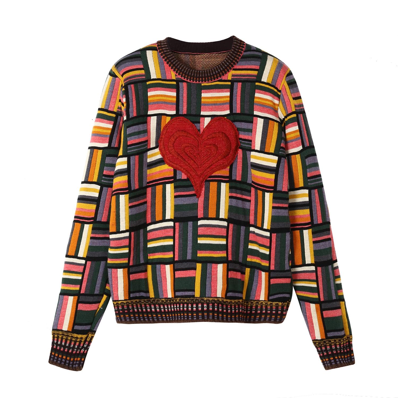 Kadın Giyim'ten Kazaklar'de Vintage Hit Renk Ekose Kazak Moda 2018 Kadın Aşk Kalp Nakış Jakarlı Örgü Kazak Kontrast Renk çizgili kazak'da  Grup 1