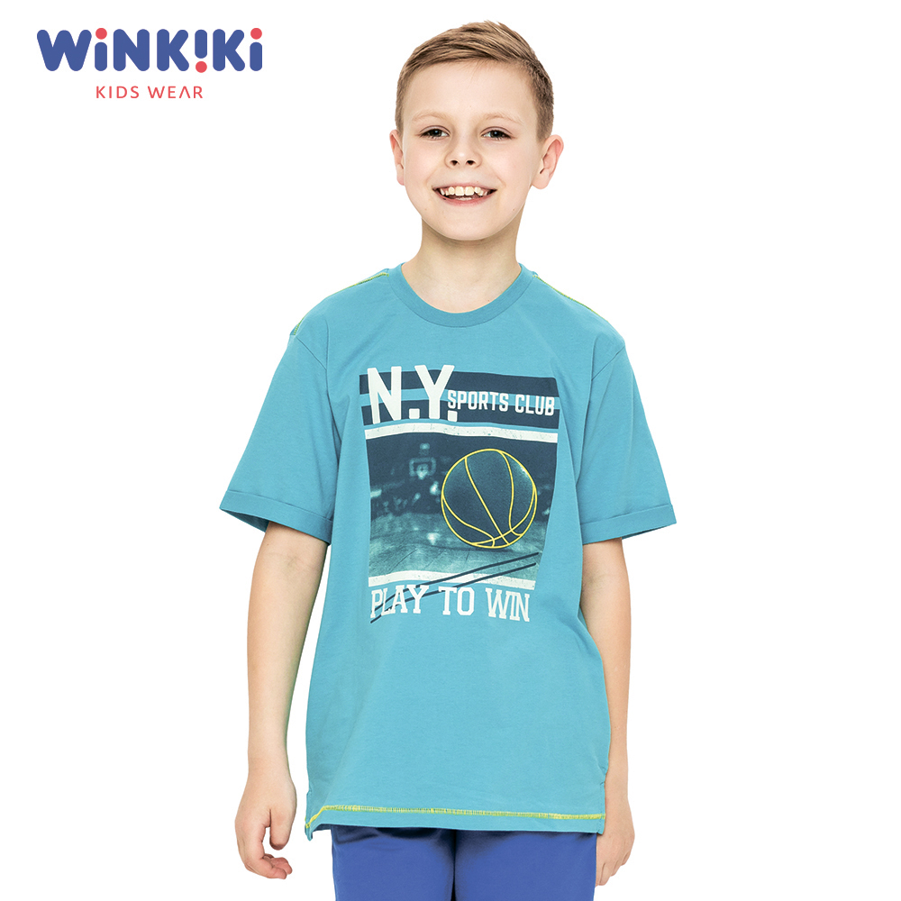 T-Shirts Winkiki WTB91424 T-shirt kids children clothing Cotton Blue Boys Casual 2016 fashion children clothing t shirt stripe cotton boys