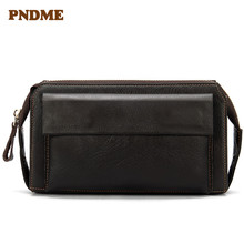 Mens wallet long leather version of the Korean double zipper mens change clutch bag