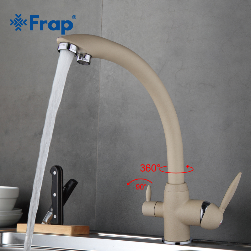 Frap New Arrival Khaki Color Kitchen Faucet Deck Mounted Mixer Tap 180 Degree Rotation with Water