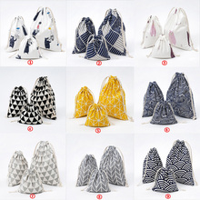 Fashion Portable Drawstring Bag Girls Shoes Bags Women Cotton Travel Printed Linen Pouch Storage Clothes Drawstring Backpack