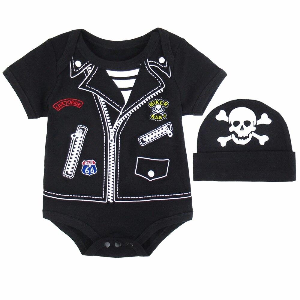 2 PCS Bayi Laki Laki Gadis Kostum Newborn Bodysuit Dengan Topi Lucu