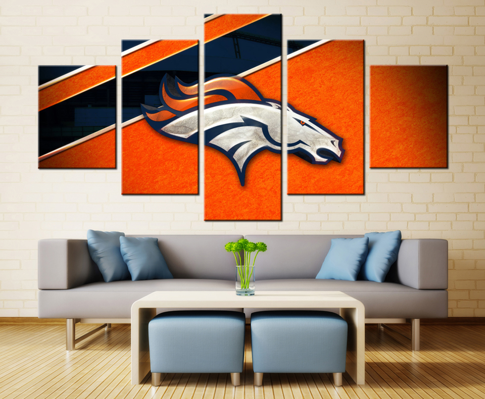 Denver Broncos 5Piece Canvas Art Painting Spray Printings Cat Basketball Picture Home Decor For Living Room