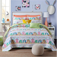 Cartoon Bedspread Pillow Cases Queen King Size Coverlet Set Lovely Bed Cover Pillow Cases Bed linen for children