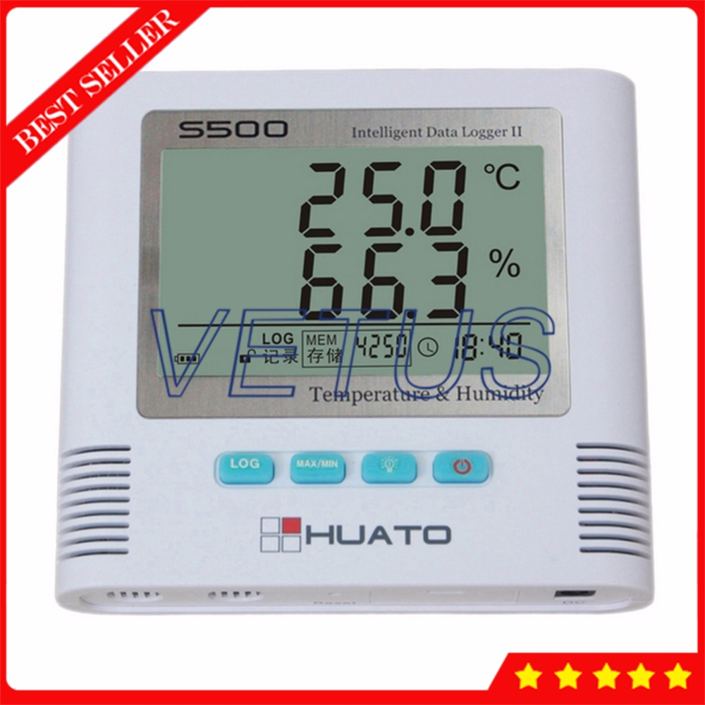 S500-TH USB Interface Digital Thermometer Hygrometer with 43,000 Data Logger 2 Channel Temperature Humidity Datalogger data logger temperature humidity usb datalogger thermometer data record