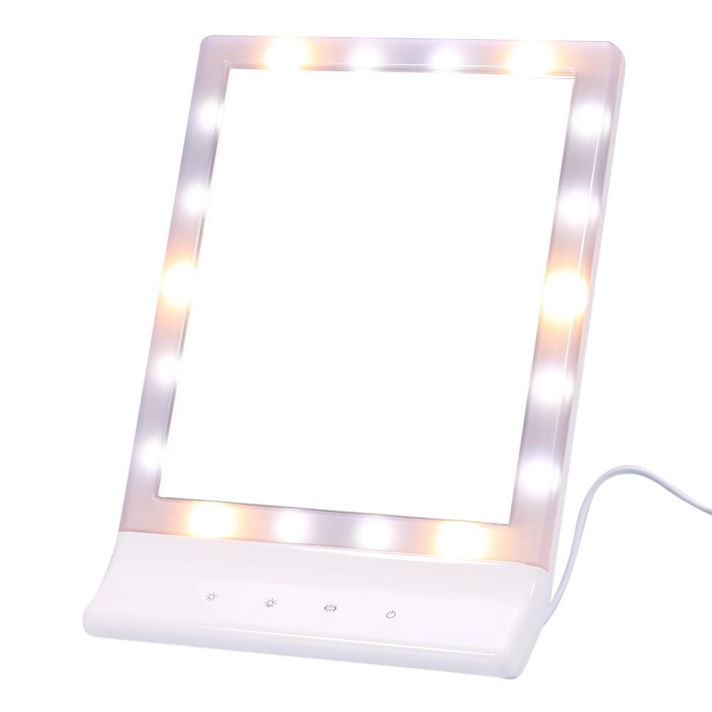 Praktisch 8,4 x 11,8 Fashion Make-up Spiegel 18 Leds Licht Professionelle Eitelkeit Spiegel 90 Grad Rotierenden Tabletop Spiegel Schminkspiegel Spiegel