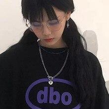 купить Japan and South Korea Retro Harajuku Love Cross Pendant Necklace Hip Hop Rock Cool Girl Disco OT Buckle Clavicle Chain Necklace дешево