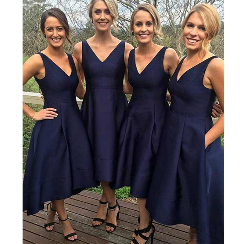 6950e5c037ae Detail Feedback Questions about 2018 New Bridesmaid Dresses Blue V Neckline  Stain Elegant Navy Blue Bridesmaid Dresses High Low Wedding Party Dress on  ...