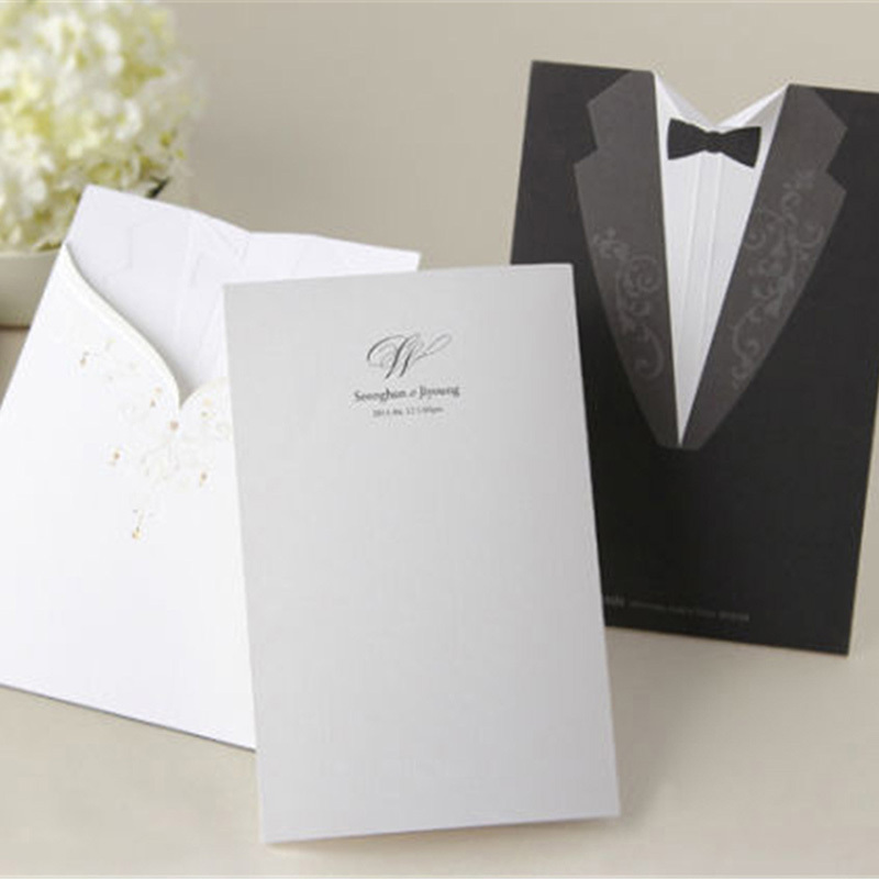Laser Cut Wedding Invitations Creative Elegant Vintage Groom and ...