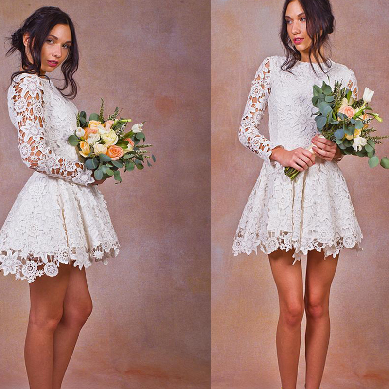 White Lace Short Wedding Dress Long Sleeve Robe De Mariage