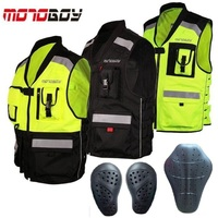 Free shipping 1pcs NEW Men High Visibility Reflective Motocross Racing Vest Motorbike Motorcycle Vest with protectors