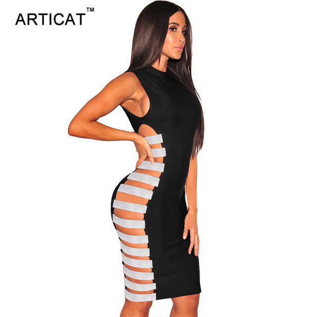 Articat Side Sequin Sexy Bandage Party Dress Women Sleeveless Back Zipper Bodycon Dress Vestidos Elegant Hollow Out Pencil Dress 4
