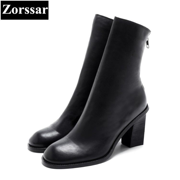 {Zorssar} 2018 NEW fashion women boots Genuine Leather Round Toe High heels womens Mid-Calf boots Autumn winter women shoes riding boots chunky heels platform faux pu leather round toe mid calf boots fashion cross straps 2017 new hot woman shoes