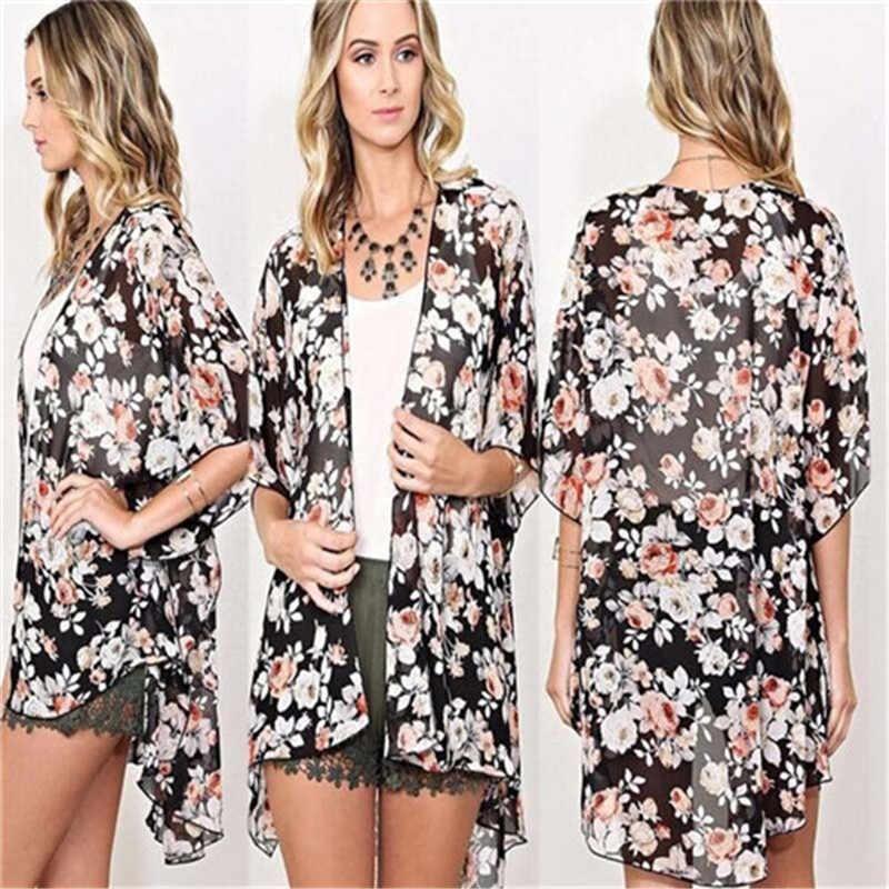 Nowe damskie topy i bluzki S-XL kobiety narzutka na Bikini Top w stylu Boho w kwiaty długa sukienka kardigan Kimono długie kurtki damskie bluzki