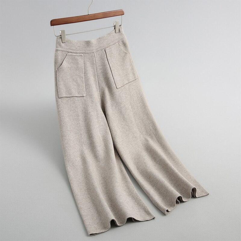 autumn female casual   pants   pocket decoration solid color knit   wide     leg     pants