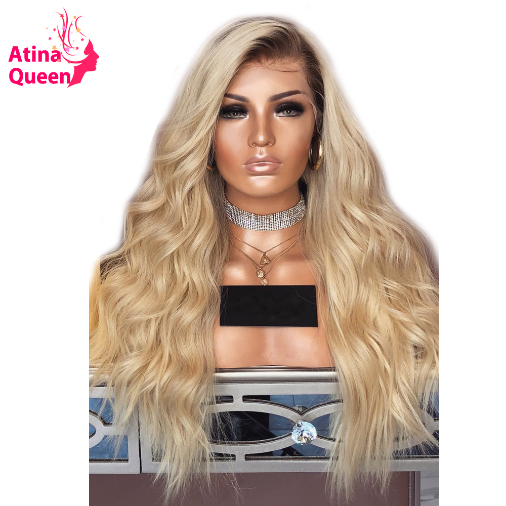 Loose Wave Ombre T1B 613 Blonde Two Tone Lace Front Wig Glueless Wig Pre Plucked with