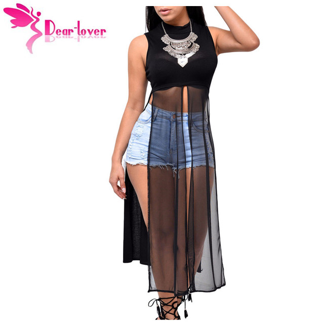 Dear Lover Stylish Woman Vest Party Mesh Patchwork Sleeveless High Side Split Club Top 2016 Summer Long Tanks Camisole LC25857