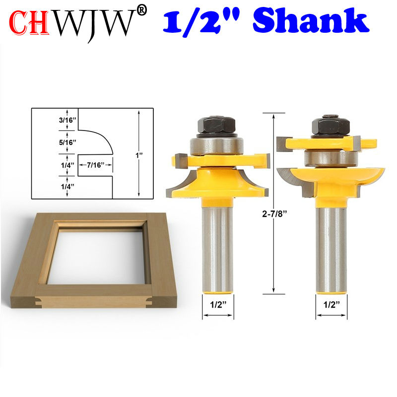 2PC 1/2 Shank Rail & Stile Router Bits-Matched Quarter-round door knife Woodworking cutter Tenon Cutter for Woodworking Tools