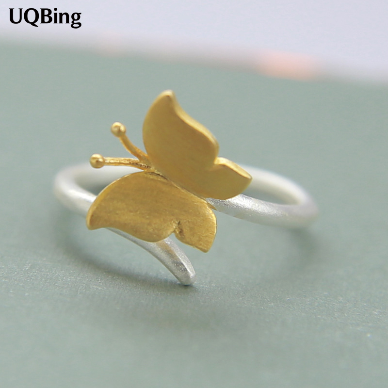 Anillo Open-Ring 925-Sterling-Silver Butterfly Women Jewelry Gift Anel De Gold-Color