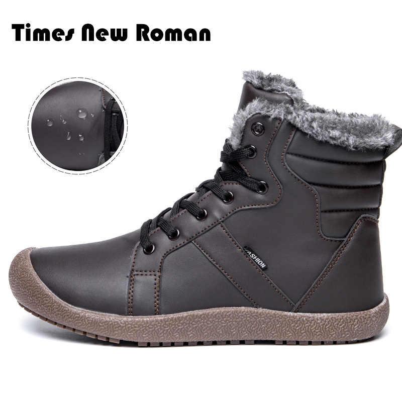 Keer Nieuwe Romeinse Mannen Winter Laarzen Mannelijke Sneeuw Enkellaarsjes Waterdicht Warm Bont Toevallige Boot Schoenen Chaussure Homme Plus Size 36 ~ 48