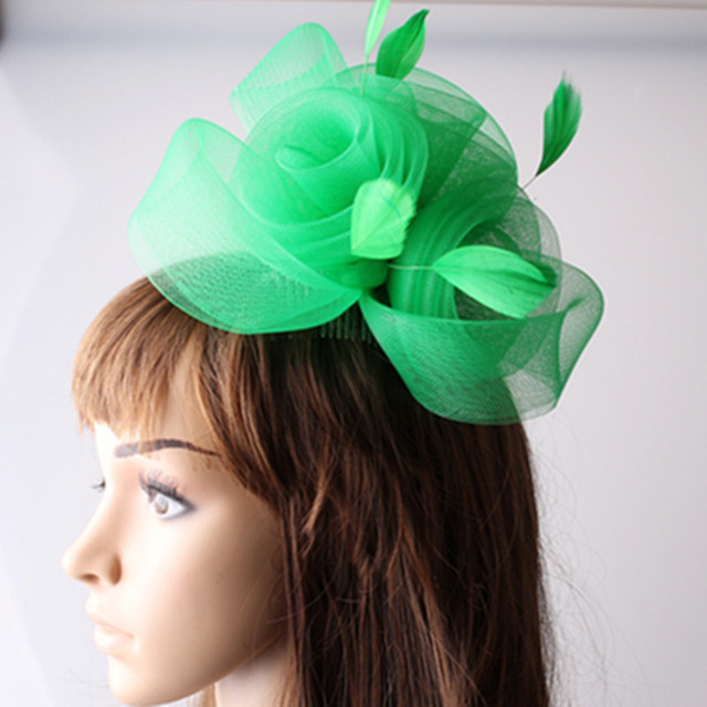 5fe025fe6a802 Ladies elegant feather flowers 3rose decoration fascinators for wedding hats  women bridal hats green party cocktail