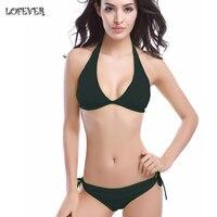 2016 Sexy Summer Women Swimsuit Micro Bikini Set Bathing Suits Bandage Halter Strap Top Swimwear Brazilian