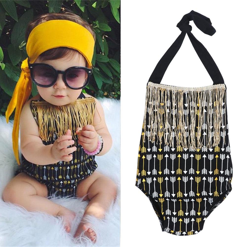 Cute Baby Infant Girls Rompers Arrows Print Ermeløs Rompers Sunsuit - Baby klær