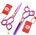 5.5INCH 16cm Barber Thinning Hair Teeth Flat Purple Scissors Stainless Steel Hair Scissor Hairdresser Shear Clipper DIY G027